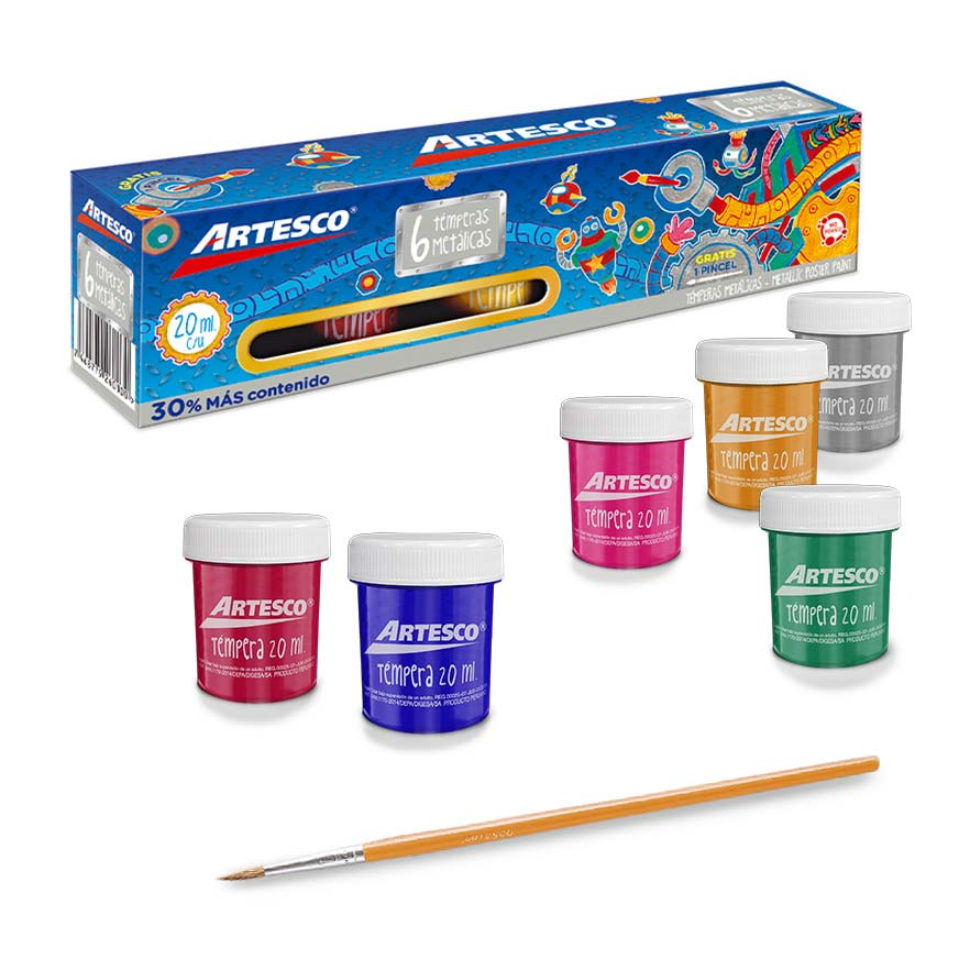 Témpera metálica set x 6 colores + pincel (20 ml)