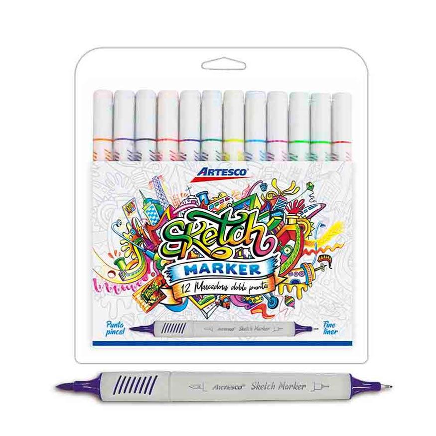 Plumones Sketch Marker estuche x 12