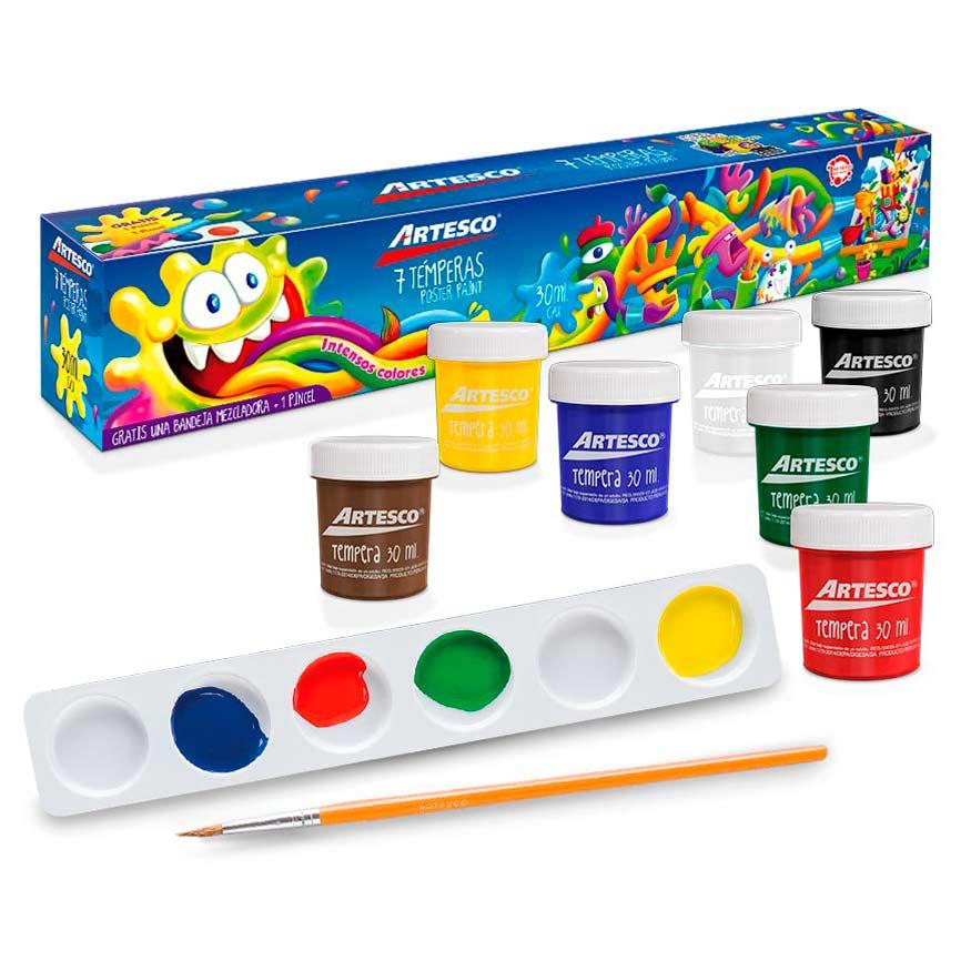 Témperas x 7 Colores + Pincel + Paleta Mezcladora